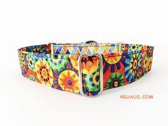 Collar Perro Martingale Modelo Flores de verano y triangulos. Martingale Dog Collar, Dog Collar, Collar Galgo - 4GUAUS.com de 4GUAUS en Etsy