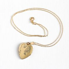 Vintage 14k Gold Filled Heart Locket Necklace Late Art Deco 1940s... ($70) ❤ liked on Polyvore featuring jewelry, pendants, heart locket, heart charm, flower pendant, locket pendant and vintage locket