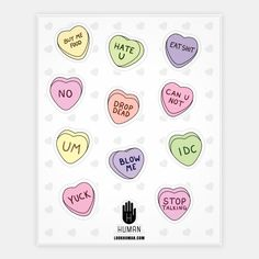 Conversation Hearts Stickers | Stickers, Sticker Sheets and Vinyl Stickers | HUMAN