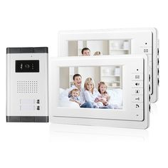 "FREE SHIPPING New 7"" Video Intercom Apartment Door Phone System 2 White Monitors 1 HD Camera for 2 Household In Stock Wholesale"