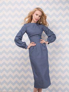 Платье «Лиля» джинса в горох — 26 990 рублей