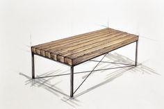 Handcrafted bespoke wooden coffee table with metal legs. Old wood. Modern, rustic, simple, industrial furnitures.