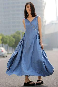 Blue Linen Dress - Maxi Casual Lagenlook Summer Dress Long Length Sleeveless Full Skirt Summer Fashion(C256)