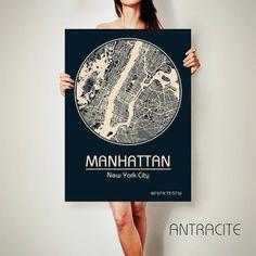 MANHATTAN New York CANVAS Map Manhattan New York by ArchTravel