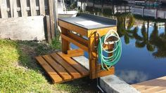 Fish cleaning station Fish Cleaning Table, Fish Cleaning Station, Lake Dock, Boat Dock, Outdoor Sinks, Outdoor Tables, Outside Sink, Fishing Pole Storage, Patio