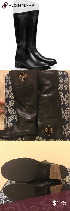 """Tory Burch Kiernan Riding Boots A wardrobe staple — our must-have riding boot. A classic equestrian shape dressed up with fretwork-inspired gold metal. Our leather Kiernan Boot is inset with a signature 'T' logo done in an open-cut design  STYLE NUMBER22138506. Size 7.5 retail for $495 online  Tumbled leather. 1.3"""" (35mm) stacked heel. Gold-tone logo detail with stud embellishments. Closed toe. Zipper closure. Leather and fabric jacquard lining. Leather sole. Shaft height: 16.5"""" Leg…"""