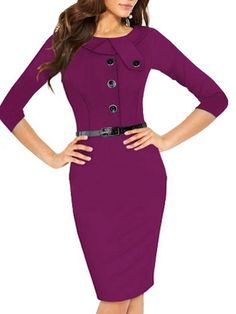Ladylike Round Neck Single-breasted Plain Bodycon-dress With Belt Bodycon Dresses from fashionmia.com