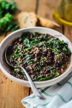 SPICY SOUP OF AZUKI BEANS, KALE AND QUINOA
