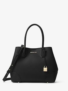 The clean, soft lines of the Michael Kors Mercer Gallery satchel are reinforced by defined edges. Michael Kors Medium Mercer Gallery available in 4 colors. Sac Michael Kors, Handbags Michael Kors, Michael Kors Black, Black Leather Satchel, Gold Leather, Pebbled Leather, Designer Totes, Designer Handbags, Elegant