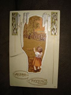 Easter Greetings  Child watching Rabbit   by PastPossessionsOnly, $9.95