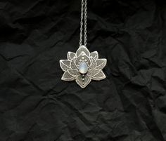 Lotus Pendant - Water Lily Necklace - Silver Flower Necklace - Moonstone Necklace - Heart Chakra Necklace shoes message Lotus Yoga Pendant in sterling Silver, Moonstone Chakra Necklace Lotus Necklace, Chakra Necklace, Moonstone Necklace, Flower Necklace, Pendant Necklace, Key Pendant, Moonstone Pendant, Rope Necklace, Ring Earrings