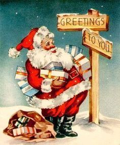 Vintage Christmas Cards From Old Time Christmas, Old Fashioned Christmas, Christmas Past, Christmas Holidays, Father Christmas, Christmas Decor, Vintage Christmas Images, Retro Christmas, Vintage Holiday