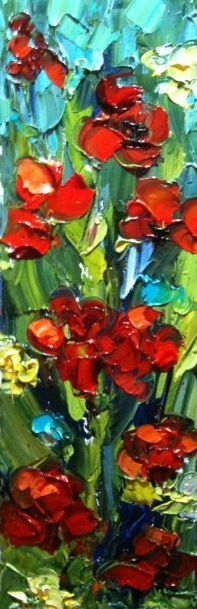 """Daily Painters Abstract Gallery: Original Palette Knife Poppy Painting """"Poppy Hotlips"""" by Colorado Impressionist Judith Babcock"""