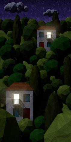 Lowpoly hillside – night