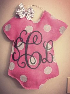 Welcome Baby Burlap Door girl pink personalized baby by TheCraftyFoxLR, $30.00