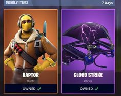 Fortnite - Raptor Outfit and Cloud Strike Glider. Wich one would you Buy?  #fortnite