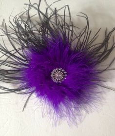 Dance Competition Hair Piece Black and Purple Long Feather Rhinestone Hair Fascinator. Handmade by FancyGirlBoutiqueNYC
