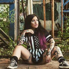 """Americunt"" Striped Mesh Tee available at www.crmc-clothing.co.uk   WE SHIP WORLDWIDE Model - @crystalshipkelly#starsandstripes #tattooedwomen #hot #meshtee #womenwithtattoos #tattooedmodels #beautiful #blackwear #alternative #alternativefashion #alternativestyle #Edinburgh #fashionstatement #fashiongram #scotland #instastyle #stylegram #fashion #fashionoftheday #dailyfashion #styles #style #alternativeguy"