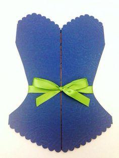 Corset Bridal Shower Invitation Navy Blue With Green ribbon  on Etsy, $24.00