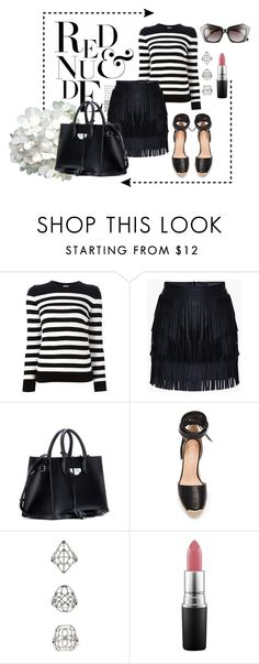 """#1824"" by mar-aloi ❤ liked on Polyvore featuring Yves Saint Laurent, Balenciaga, Raye, Topshop, MAC Cosmetics and Elizabeth and James"