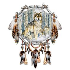 """Dreamcatcher: Al Agnew Spirit Seeker by Bradford Exchange. $39.95. Mr. Agnew's widely sought wolf art is faithfully reproduced in vivid color and detail on real leather, then hand-stretched and secured to a sculpted dreamcatcher frame. Satisfaction Guaranteed: Free Returns for 365 Days. Measures approximately 8-1/2"""" in diameter and 13"""" H with embellishments; 21.6 cm in diameter and 33 cm H. A bold wolf art dreamcatcher showcasing the powerful wildlife artwork of renowned artist ..."""