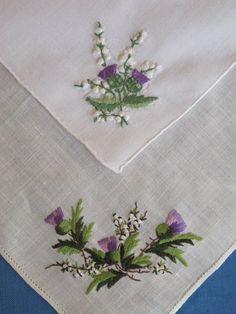 2 Embroidered Scottish Thistles Vintage Hankies