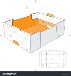 Tray Box With Die-Cut Pattern Stock Vector Illustration 184036733 : Shutterstock