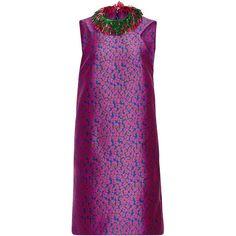 Monique Lhuillier Floral Jacquard Fringe Collar Mini Dress ($2,595) ❤ liked on Polyvore featuring dresses, short purple dresses, metallic dress, short mini dress, shift dress and floral mini dress
