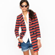 J. Crew Gondola Striped Wool Coat Jacket *nwt* Brand new from J. Crew. Gondola stripe stretch wool coat. Retails for $495. New With Tags! J. Crew Jackets & Coats Pea Coats