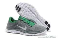 Mens Nike Free 3.0 V5 Wolf Grey White Poison Green Shoes 580393-013 Online
