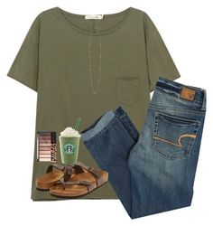 """""""rtd!!"""" by nc-preppy-living ❤ liked on Polyvore featuring rag & bone/JEAN, American Eagle Outfitters, Kendra Scott and Birkenstock"""