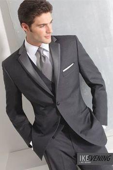 Dernières créations manteau de pantalon pour 2015 mariage costumes de marié hommes sur mesure usure marié gris trois pièces costumes de laine livraison gratuite