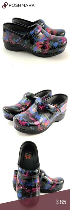 DANSKO Pro XP Colorful Size 37 US 6.5-7 Clogs DANSKO Pro XP Patent Multi Color Women's 37 (6.5-7) Nurses Clogs Floral Slip Ons  Very nice condition, lightly preowned, items do not show any signs of wear. Box not included.  Very colorful slip on slip resistant size 37 or US 6.5-7  Fast shipping  Experienced seller   Contact us with questions, we want you to love your new purchase.  All reasonable offers will be considered   Check out or other great Dansko products for various sizes Dansko…