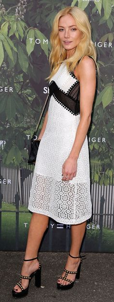 Clara Paget at the Serpentine summer party in a black and white jacquard Burberry dress and shoes last night