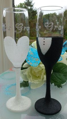 Mr and mrs gray bride amd groom champagne flutes. Available from dazzlingcraftycreations.co.uk