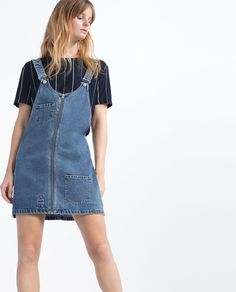 "Image 2 of ""I AM DENIM"" COLLECTION PATCHWORK PINAFORE DRESS from Zara"