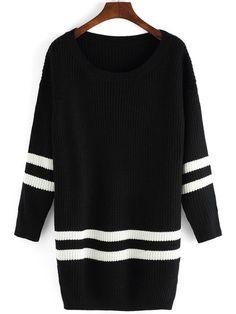 Black Scoop Neck Color Blcok Trims Sweater. -SheIn