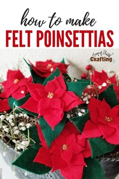 Cutting felt with Cricut is a super and easy way to make your own felt flowers. Watch the video tutorial and grab the FREE SVG cut file to create DIY poinsettias. Cricut Christmas Ideas, Diy Christmas Decorations Easy, Christmas Projects, Holiday Crafts, Holiday Fun, Felt Christmas, Simple Christmas, All Things Christmas, Christmas Poinsettia