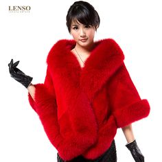 Dyed Red fox & sheared beaver fur wrap
