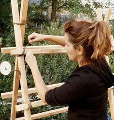 3-Step Garden Trellis -- easy to make, can use any type of wood even bamboo, at very low cost and maybe even for no cost