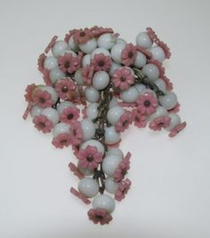 Early Miriam Haskell Dangle Milk Glass Pink Flowers Brooch #EarlyMiriamHaskell