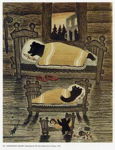 "transistoradio: "" Yuri Vasnetsov ""Everybody Asleep,"" illustration for Leo Tolstoy, The Three Bears "" Art And Illustration, Charles Perrault, Goldilocks And The Three Bears, Russian Folk Art, 3 Bears, Children's Picture Books, Bear Art, Yuri, Fairy Tales"