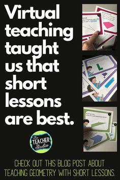 """Teaching geometry can be tricky! There is a TON of math vocabulary and a lot of """"rules"""" to remember. This blog post gives great suggestions on how to use task cards to break instruction into short, meaningful minilessons. Whether you are teaching in person or virtually, we know that short minilessons are the most effective. Check out the post for more! #geometry #elementarygeometry #geometrylessons #CCSS #protractorlessons #symmetrylessons #anglelessons #fourthgrademath Geometry Lessons, Teaching Geometry, Math Lessons, Teaching Tips, Teaching Math, Standards For Mathematical Practice, Elementary Math, Upper Elementary, Math Talk"""