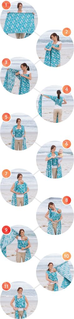 Front Wrap Cross Carry in a Woven Wrap Instructions - How to do a front wrap, front carry in a Baby Tula Woven Wrap
