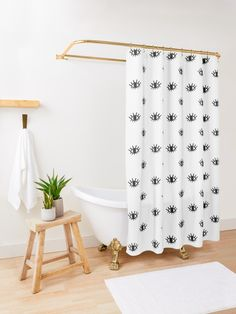"""""""Open Eyes"""" Shower Curtain by meandthemoon Elegant Shower Curtains, Bohemian Shower Curtain, Funny Shower Curtains, Minimalist Showers, Farmhouse Shower Curtain, Open Showers, Home Furniture, Blue And White, Eye Pattern"""