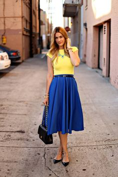 Birthday Brights Women fashion clothing outfit style blue skirt yellow top shirt necklace bracelet shoes shoulder bag summer casual street