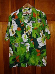 ce077dab Details about Pomare Tiki Vintage Mens Sz LRG 1960s Lime Olive Green Hawaiian  Floral Hibiscus. Aloha ShirtAloha ...
