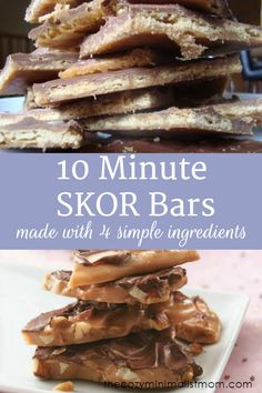You'll love how easy this 10 Minute SKOR Bar Recipe is. Candy Recipes, Baking Recipes, Cookie Recipes, Snack Recipes, Dessert Recipes, Snacks, Baking Ideas, Healthy Recipes, Skor Bars