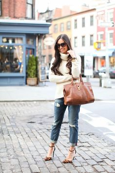 J.Crew Collection turtleneck // Rich & Skinny jeans c/o (similar) Schutz heels (more options below) // YSL bag