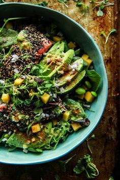 Seared Salmon and Avocado Salad with Ginger Vinaigrette